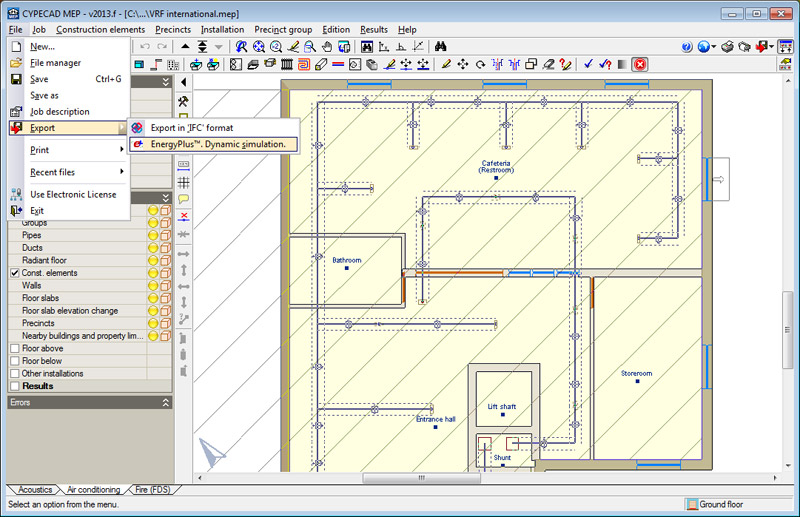 CYPECAD MEP. Data entry with the help of drawing files